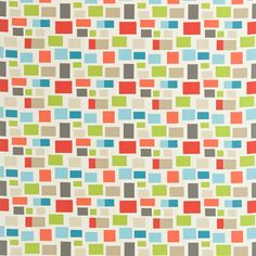 SCION - Designer Fabric and Wallpapers | Blocks |  An assortment of multi coloured blocks, offset against a plain background, resulting in a fun, retro-geometric look.