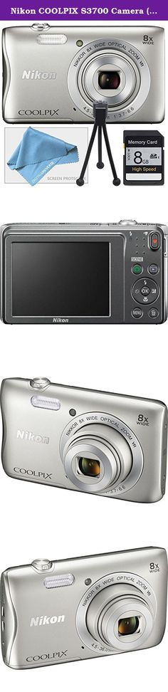 Nikon COOLPIX S3700 Camera ( White Box Packaging ), 8GB SD Memory Card, Table Top Tripod, Lens Cleaning Kit and LCD Screen protector. The silver COOLPIX S3700 Digital Camera from Nikon is a compact point-and-shoot camera with a 20.1MP image sensor providing high-resolution imagery. Its built-in NIKKOR lens offers 8x optical zoom with a focal range of 4.5 to 36mm and a variable aperture range of f/3.7 to f/6.6. For even further reach, the 16x Dynamic Fine Zoom effectively doubles your zoom...