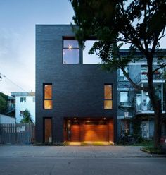 Modern brick house in Montreal, Canada.