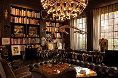 Antique Custom Home Library Design for a Quiet Reading Room with alluring photo : Vintage Custom Home Library Design Amazing Gold Chandelier...