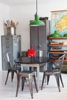 Industrial Interior, retro accessories. Neutral grey colour scheme and complimentary colour mix with red and green accents. Nice