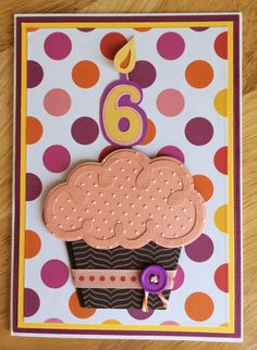 3D Cupcake Handmade Birthday Card-1, 2, 3, 5, 6 Year Old Girl Birthday Card-Birthday Card With Cupcake and Polka Dots-Pink, Purple, Orange by TreasureIslandCards on Etsy