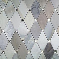 Paradigm Diamond Moonstone Marble and Mirrored Glass Tile