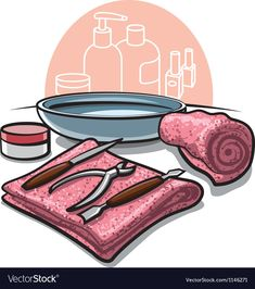 Manicure tools vector image on VectorStock Nail Salon Design, Nail Salon Decor, Manicure E Pedicure, Manicure Tools, Makeup Backgrounds, Cupcake Vector, Nail Logo, Nail Quotes, Nails At Home