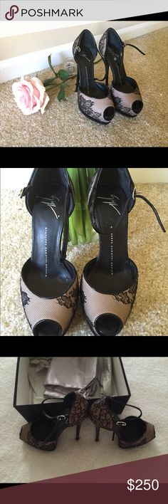 Giuseppe Zanotti lace pumps heels Size 5 Only worn once on my birthday. After that they've been sitting in a box. Paid $850 for them in Bergdorf Goodman. They will fit size 5,5 as well . Giuseppe Zanotti Shoes Heels