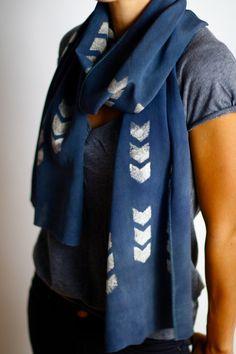 Hand Dyed Chevron Silk Scarf Shawl Wrap - Silk Crepe De Chine - Denim Blue. $78.00, via Etsy.