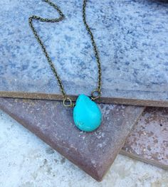 THE TURQUOISE TEARDROP Necklace //  Petite by ShopParadigm on Etsy, $16.00