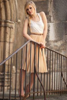 white tank top beige accordion skirt