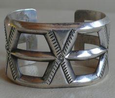 Silver cuff, tufa cast  30's-40's era