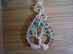Paisley Tree of Life Pendant Silver Parawire Wire by OurFrontYard, $33.77