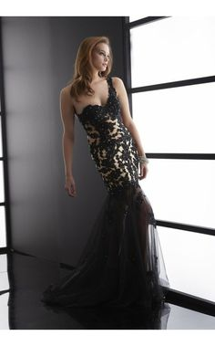 Jasz Couture 5086, mermaid black prom gown