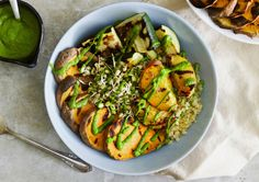 Endless Summer Buddha Bowls with Grilled Peaches & The Greenest, Mintiest Dressing in town. This recipe is vegan and gluten-free.