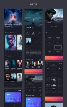 Kino iOS UI KIt is high quality pack to kickstart your movie projects and speed up your design workflow. Ios App Design, Mobile Ui Design, Interface Design, Android Design, Wireframe, Cinema App, Kino Movie, Ios Ui, Android Ui