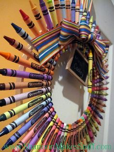 crayon wreath for kids playroom / craft room... good tutorial