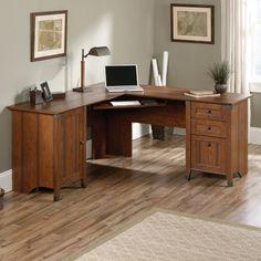 sauder carson forge corner computer desk cherry desks at hayneedle