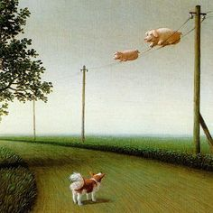 Paintings by Michael Sowa (20 photos) - Xaxor.   WHEN PIGS FLY!!!!!!