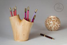 Wooden pencil holder / Pen holder / Pencil cup / Log pen holder / Desk organizer / Pen holder for desk / Office accessories / Wood vase by mitsic on Etsy