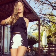 @lolaponce rocking our detailed cutout shorts from Spring Summer 2014  #mariesaintpierre #curiousbynature