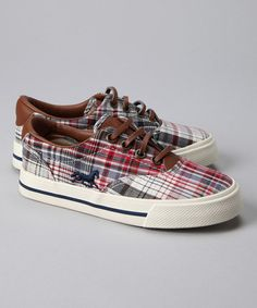 Take a look at this Red & Gray Plaid Sneaker - Kids by The Riding Club on #zulily today!