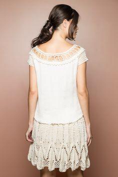 Off Alice Crochet Top - Vanessa Montoro USA - vanessamontorolojausa Vanessa Montoro, Alice, Lace Skirt, Crochet Top, Crochet Patterns, Pure Products, Knitting, Handmade, Pure Silk