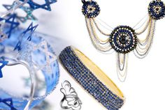 Sparkle for the Holidays!! #Candy.Coated.Jewelry The days of #Chanukah are well underway, and we're honoring the occasion with this fashionable array of selects in blue, silver, and gold (it's a little like gelt... right?). Time to put down the latkes - it's style indulging time!