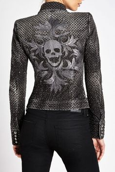 Skull jacket ~ Philipp Plein ~ very cool plus idea for scales pattern, dragon wings? Spray bleach/color?