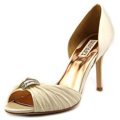 Badgley Mischka Women's Jennifer D'Orsay Pump,Ivory,7.5 M US. D'Orsay dress shoe featuring gathered peep-toe strap with crystal-embellished ornament at center. Peep toe.
