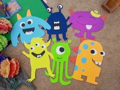 Poster board monster party decorations and DIY tissue paper pom-poms Little Monster Birthday, Monster 1st Birthdays, Monster Birthday Parties, First Birthday Parties, Birthday Party Themes, First Birthdays, Birthday Ideas, Diy Birthday, Little Monster Party