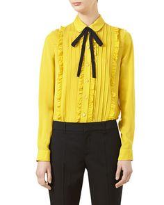 GUCCI Pleated Silk Satin Shirt, Tulip Yellow. #gucci #cloth #
