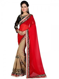 Glamorous Red And Beige Georgette Designer Saree