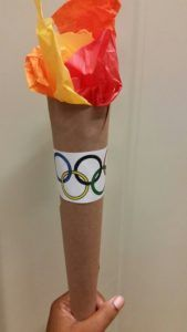 Olympic torch craft Make and pass for mornings no meeting greeting. Vbs Crafts, Camping Crafts, Special Olympics, Summer Olympics, Winter Olympic Games, Winter Games, Olympic Crafts, Olympic Idea, Sport Craft