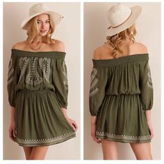 Olive off the shoulder dress Featuring embroidered detailed. Non sheer, fully lined. Woven. Lightweight. . S(0-4) -M6-8) L(10-12). Dresses