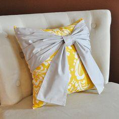 Throw Pillow Gray Bow on a Slub Yellow and White Damask Pillow 14x14 -Tiffany Blue Pillow- on Etsy, $34.00