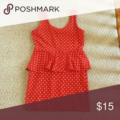 Peplum Mini Dress Red with yellowish polka dots. Super cute and flirty! Never worn! Forever 21 Dresses Mini