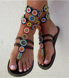 The African shop African shoes Masai beads Zambia by PFABdesigns Beaded Shoes, Beaded Sandals, Strappy Sandals, Greek Sandals, Bare Foot Sandals, Mode Statements, Bohemian Sandals, Leather Gladiator Sandals, Balenciaga Shoes