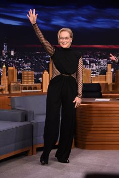 Meryl Streep in a black jumpsuit from Balmain's pre-fall 2015 collection
