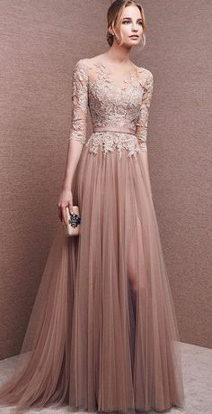 Bridesmaid Dress- Long Sleeve French Lace Dress with Front Slit