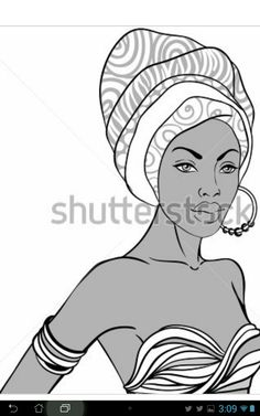Portrait of beautiful African woman in turban with earring Black Women Art, Black Art, Beautiful African Women, African Paintings, African Crafts, Africa Art, Art For Art Sake, Turban, Caricature