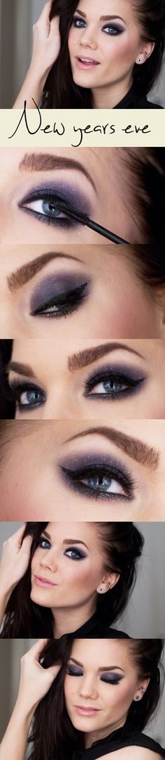 Deep purple smoky eye with a touch of silver glitter and nude lips for New Year's Eve #nye #makeup #idea #holidays #2015