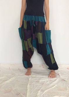 Blue Green Patchwork Hippie Harem Pants, Unisex Pants, Baggy Pants (HR-525) by ThaiFascinate on Etsy