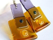 Purple Honey Dangles Glass Earrings