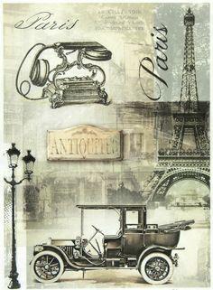 Rice Paper - Vintage Paris - for Decoupage Decopatch Scrapbook Craft Sheet Decoupage Vintage, Vintage Diy, Vintage Labels, Vintage Postcards, Vintage Black, Images Vintage, Vintage Pictures, Vintage Paris, Illustration Paris
