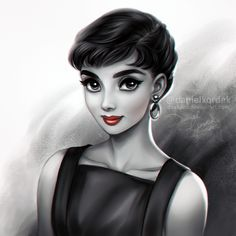Belated Birthday portrait of Audrey Hepburn. I love her iconic look! Vintage Hollywood, Hollywood Glamour, Arte Audrey Hepburn, Audrey Hepburn Drawing, Sr1, Portraits, Sketch Painting, Cartoon Art, Cute Art