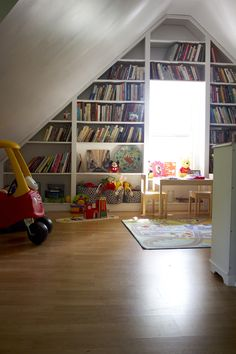 Splendid Small Attic Bedroom Furnishings Decors With Built In Bookshelves Cabinets As Well As Mini Table Set In Play Room Decors Ideas