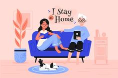 Stay at home illustration concept Free V. Funny Quotes For Instagram, Powerpoint Design Templates, 2d Character, Medical Spa, Female Doctor, Together We Can, Stay At Home, How To Draw Hands, Animation