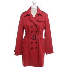 Pre-owned Trench coat in red (15.805 RUB) ❤ liked on Polyvore featuring outerwear, coats, red, burberry trenchcoat, red trench coat, burberry, fur-lined coats and collar coat