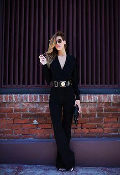 (Sunglasses - Gucci, Stacy Jumpsuit - DVF, Belt - Anthony Vaccarello x Versus,  440 Clutch - DVF, Sandals - Saint Laurent)