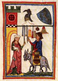 """Dietmar von Aist, disguised as a peddler,  displays some belts and purses to his love interest  Manesse Codex, circa 1300-1320, Zurich, Heidelberg, Universitätsbibliothek  (Cod. pal. Germ. 848, fol. 64 recto)"" website: www.ub.uni-heidelberg.de/Englisch/‎ Blog about Aumônières, otherwise known as alms purses Embellished textile purses in the French 14th century. : http://threegoldbees.com/images/stories/projects/embroidered_purse/MannesseCodex.jpg"