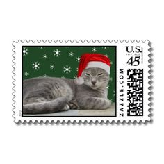 $22.45 Santa Cat U.S Postage Stamps by Emele Photography at Zazzle. #christmas #postage