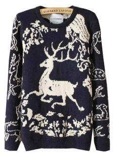 Navy Long Sleeve Deer Pattern Sweater US$35.73